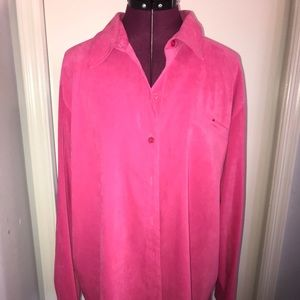 Sag Harbor Berry Pink Soft Button Long Sleeve 20W